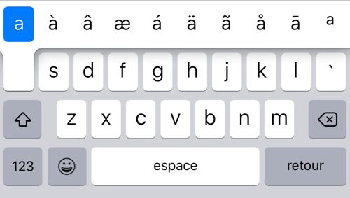 Press and hold a letter on the iPhone keyboard to get all the accents