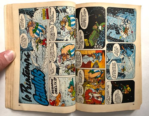 A picture of a two page sideways Asterix spread from Super Pocket Pilote #3