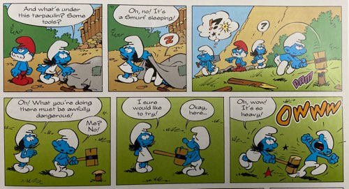 """Example of Peyo's """"The Smurfette"""" from the recent Papercutz reprint"""