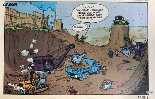 Gaston LaGaffe panel with lots of construction vehicles in it.  Probably by Jidehem
