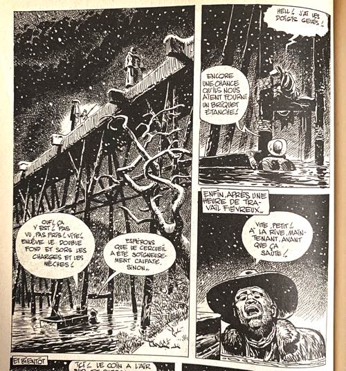 A dramatic and well detailed sequence of panels from the Blueberry story by Charlier and Giraud in Super Pocket Pilote #3