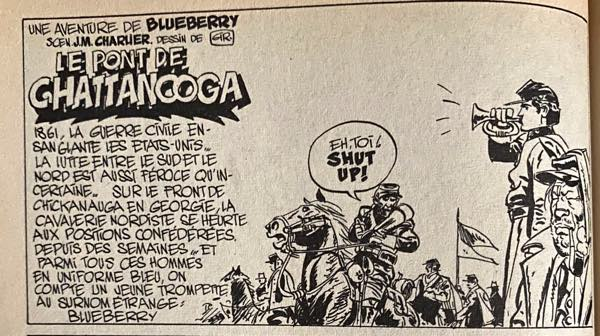 The first panel from the Blueberry story by Charlier and Giraud in Super Pocket Pilote #3