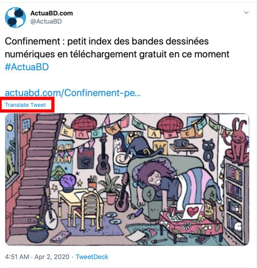 Twitter.com has a Translate This link on each single post page