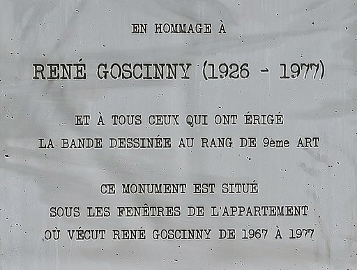 The plaque at the bottom of the Rene Goscinny statue in Paris