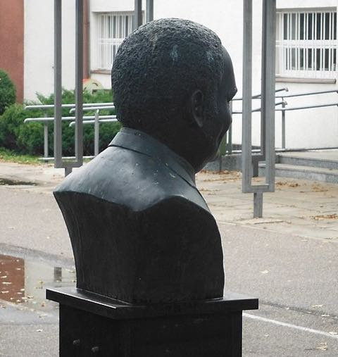 A picture of the Rene Goscinny bust in Warsaw, Poland