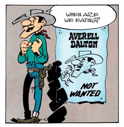 """The Dalton Brother asks """"When are we eating"""" in """"Lucky Luke: The Dalton Cousins"""" by Morris and Goscinny"""