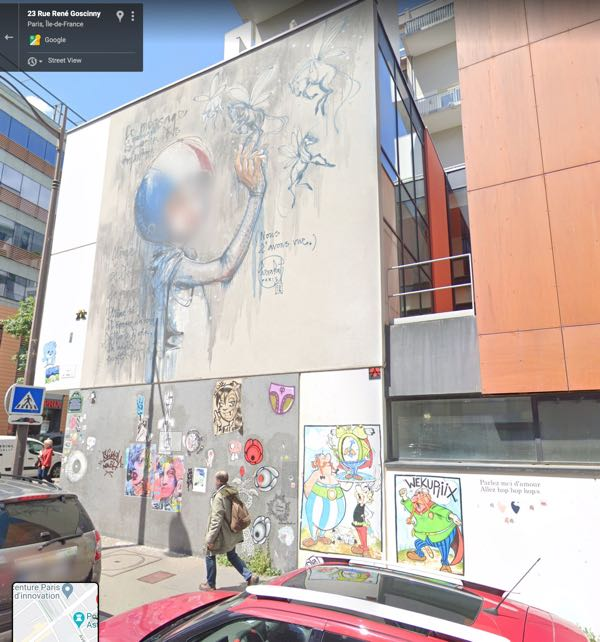 Wall mural at Rue Goscinny in Paris France.  Plus, Asterix and Obelix