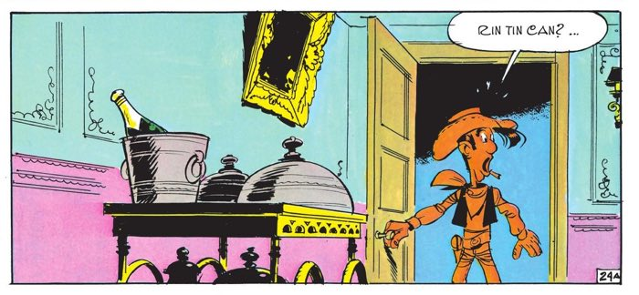 Lucky Luke discovers Rin Tin Can missing from his hotel room