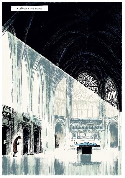 Thomas Harvey walks into a cathedral-like setting for Einstein's autopsy, in Brain Drain v1