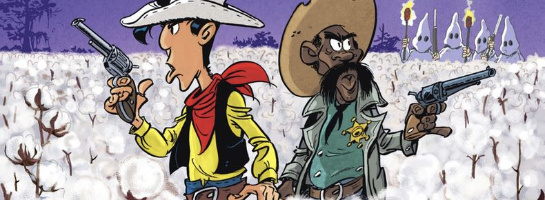 Cover detail from Lucky Luke v77: A Cowboy in High Cotton, drawn by Achde