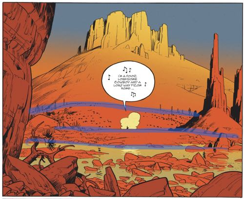 Highlights show the repetition of the hills in this Matthieu Bonhomme panel