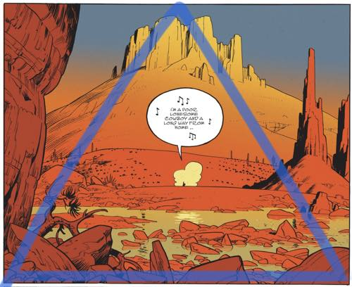 Matthieu Bonhomme uses a triangular composition for this panel.