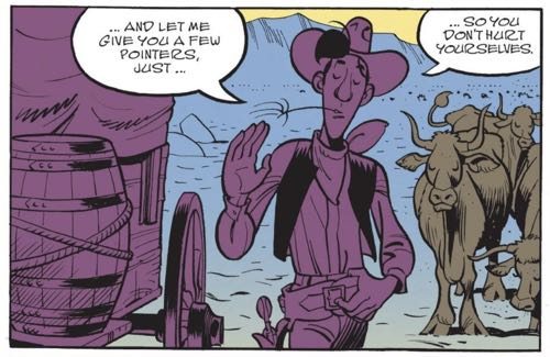 """Lucky Luke assumes the three sisters in """"Wanted Lucky Luke"""" need his help"""