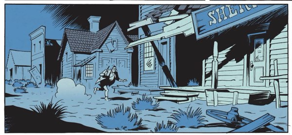 blue light at night outdoors in the big city of Wanted Lucky Luke