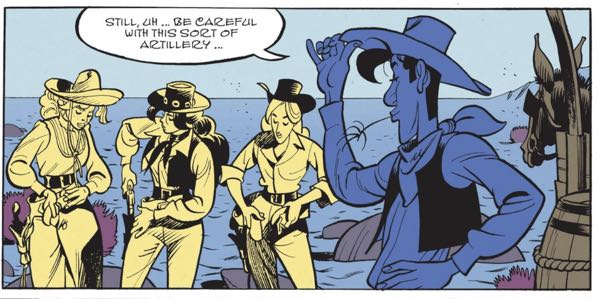 Bonhomme follows Morris' lead and uses color blocks in Lucky Luke
