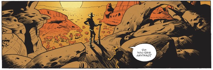 Lucky Luke stands in front of a super dramatic sunset with lots of great inking to show the shadows