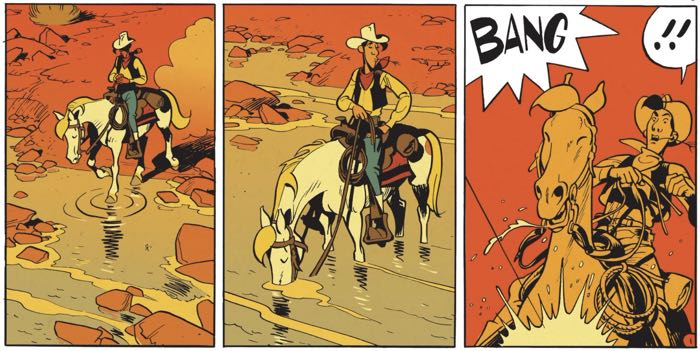Lucky Luke stops in the water and a gunshot rings out