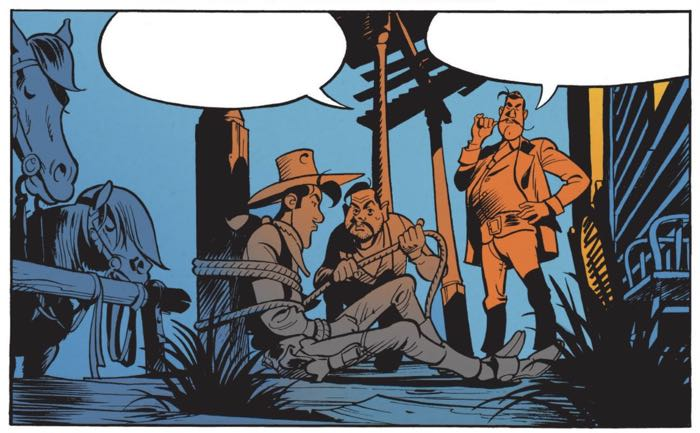 """The cold light from the saloon spills out into the blue night of """"Wanted Lucky Luke"""" by Matthieu Bonhomme"""