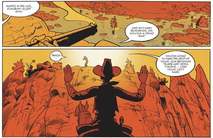 Wanted Lucky Luke page 2 starts with the gunman getting the drop on Lucky Luke