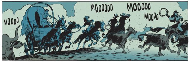 Lucky Luke helps the three sisters ride their herd