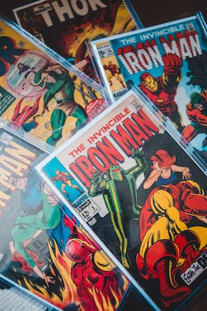 A variety of Marvel Avengers characters comics in snug mylar sleeves