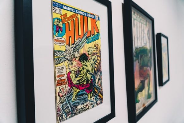 Incredible Hulk comic book framed and hung on the wall