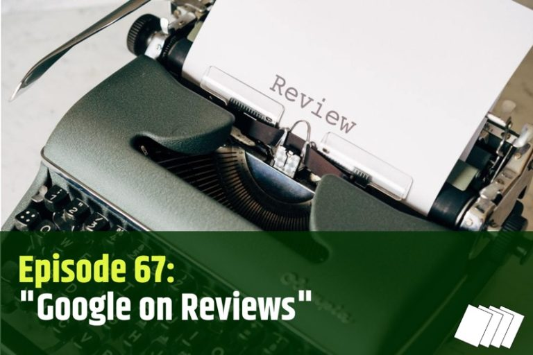 Episode 67 show notes art for Google Reviews - it's just a typewriter image.