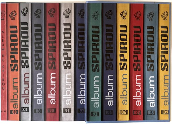 Series of spines of Collected Spirou hardcover books
