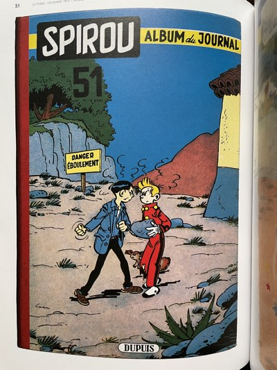 The cover of Spirou v51 shows Spirou not punching anyone.