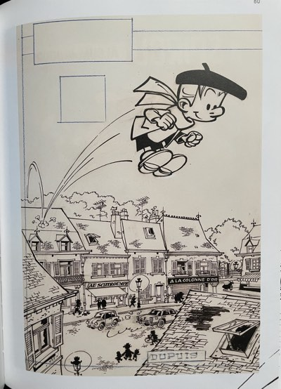 Original art for Collected Spirou v80 cover by Andre Franquin featuring Peyo's Benny Breakiron jumping through the town