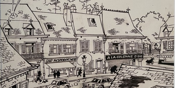 Detail of the town drawn by Andre Fanquon,seen on Spirou collection #80