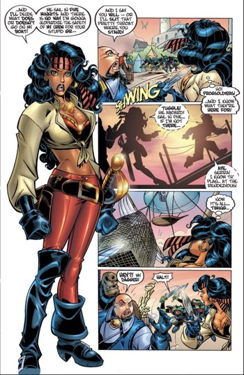 Serra stands out from the rest of the page in her introduction in Tellos #1