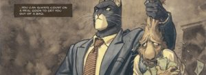 Blacksad holds up a rabbit who tried to run