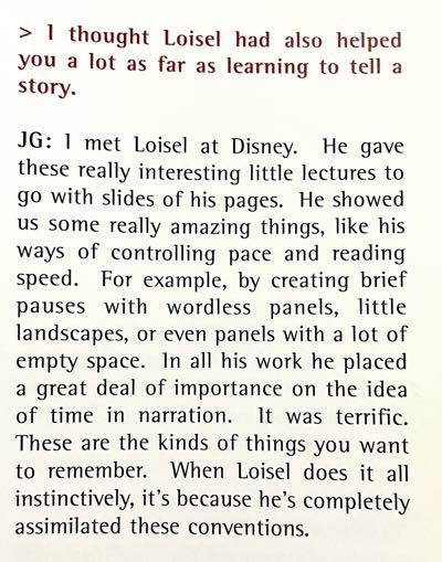 In an interview excerpt, Juanjo Guarnido expresses his admiration for Regis Loisel