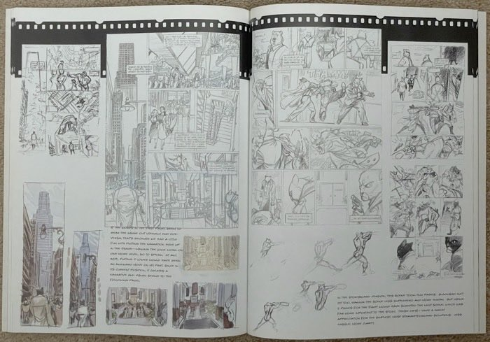 Guarnido shows a two page fight scene that wound up as one page