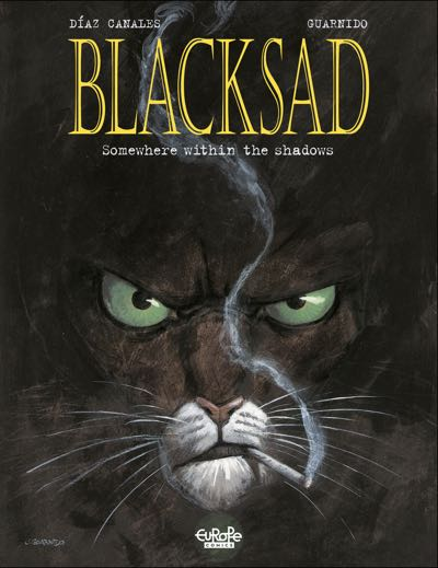 Closeup on Blacksad's face the cover of volume 1, by Juanjo Guarnido