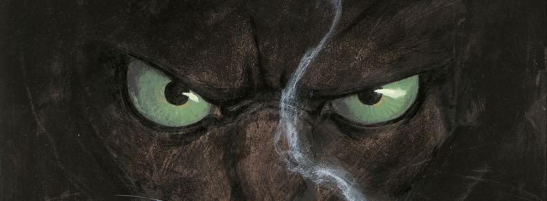 Detail of a closeup on Blacksad's face the cover of volume 1, by Juanjo Guarnido