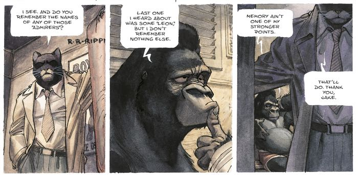 The box gorilla doesn't want to talk to Blacksad in these panels.