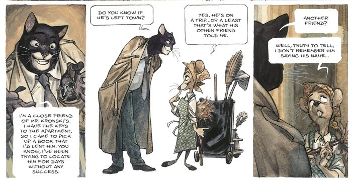 Blacksad talks to a mouse straight out of Disney Central Casting