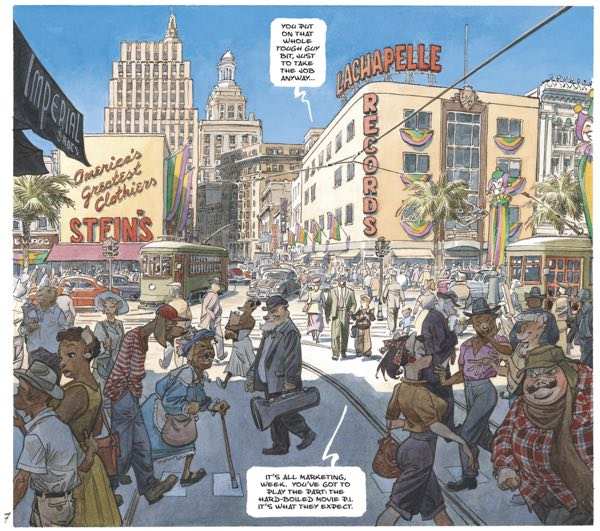 Guarnido draws a busy New Orleans street corner, heavily referenced