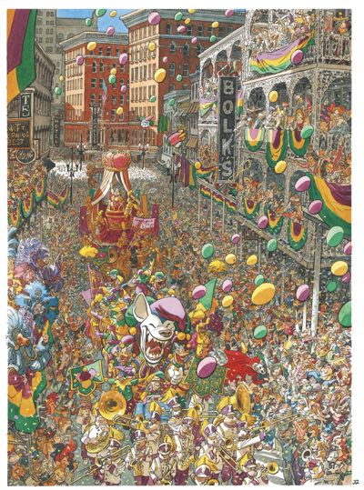 Full page splash of a Mardi Gras parade shows a packed city street