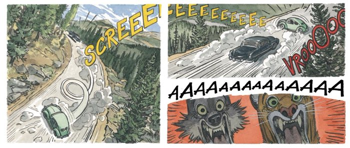 Juan Guarnido makes good use of sound effects lettering to tell a story