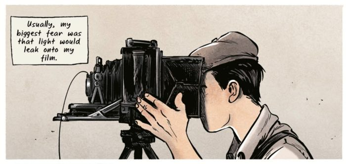 """John Clark uses a classic camera in this panel from """"Days of Sand"""""""
