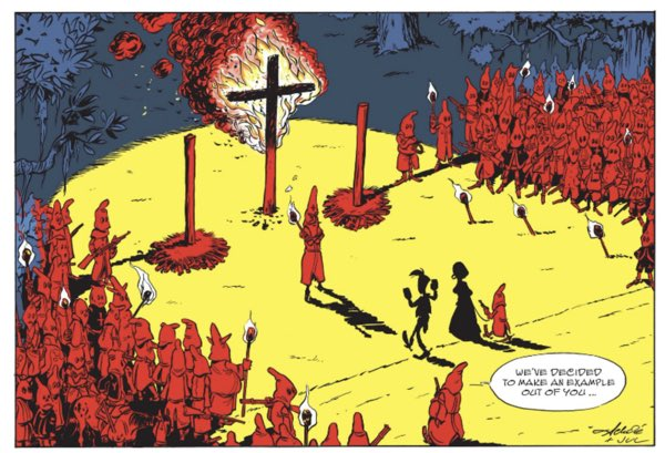 The most recent Lucky Luke book includes a KKK meeting and cross burning