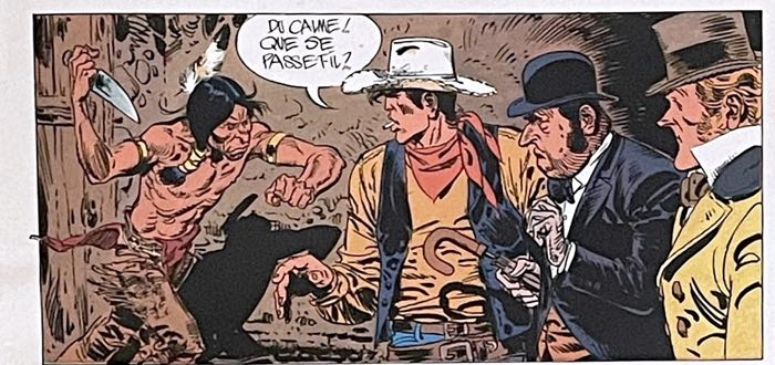 Jean Giraud's version of this Lucky Luke panel adds depth by moving characters towards the reader.