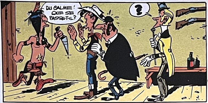 Panel 1 of Lucky Luke by Morris shows all the characters in line, at the same distance from the reader