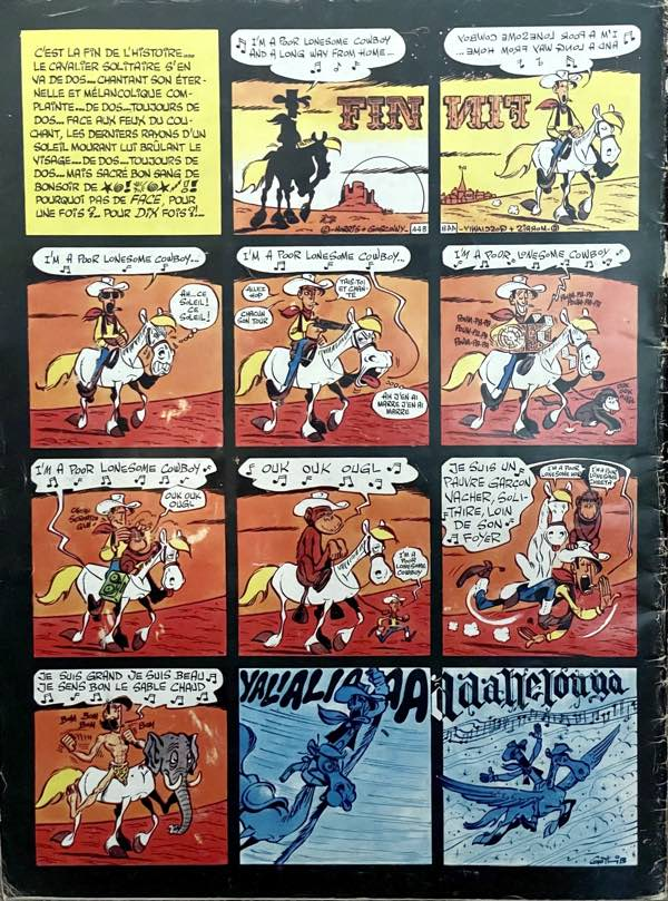 """Gotlib's back cover to Pilote Journal 631 does a several on the Lucky Luke """"Poor Lonesome Cowboy"""" final panel."""