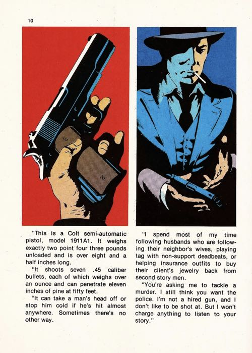 Jim Steranko Red Tide sample page.  It features two panels and a lot of text below them.