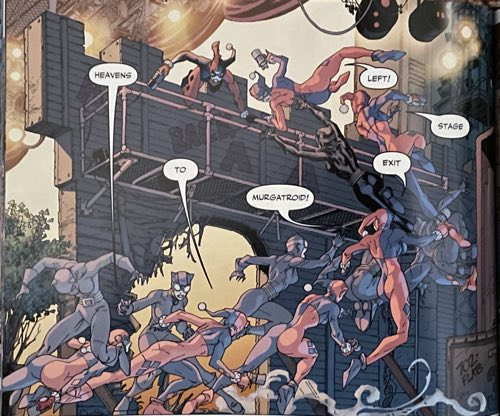 Final color artwork of Harley Quinn and Catwoman in action at the opera
