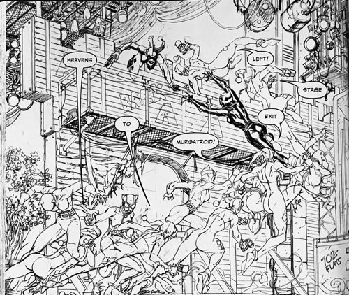 Black and white artwork of Harley Quinn and Catwoman in action at the opera